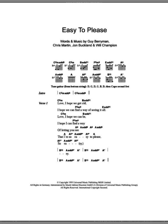 Easy To Please sheet music for guitar (chords) by Will Champion, Coldplay, Chris Martin, Guy Berryman and Jon Buckland. Score Image Preview.