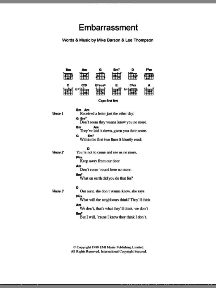 Embarrassment sheet music for guitar (chords) by Madness, Lee Thompson and Michael Barson, intermediate skill level