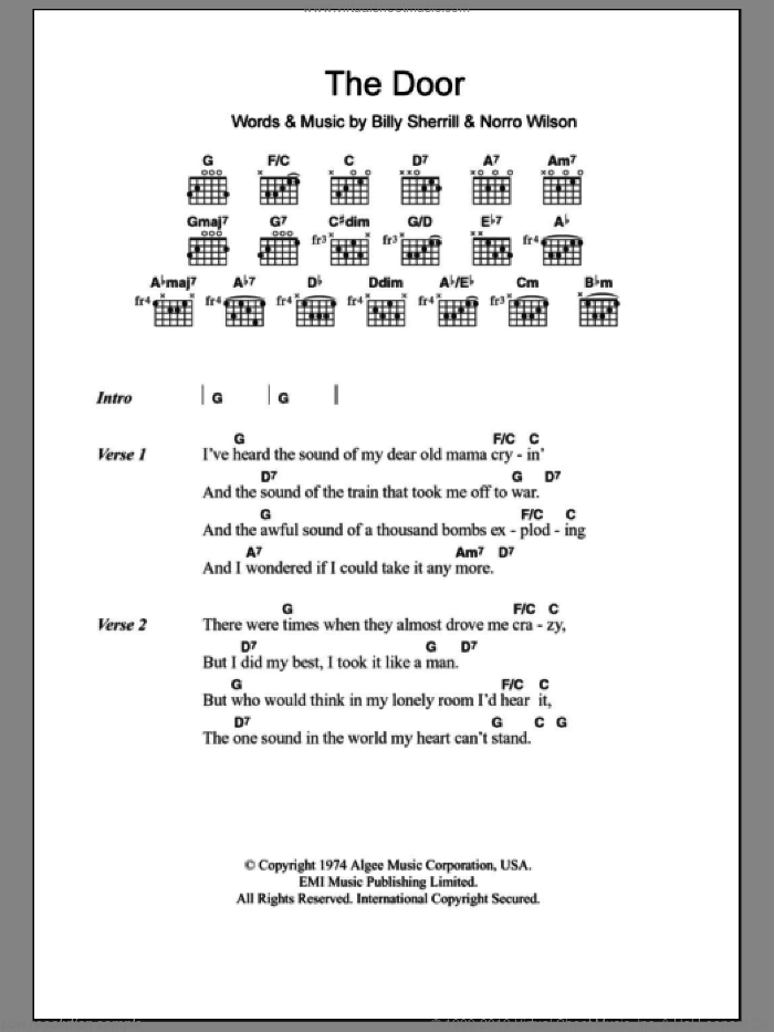 The Door sheet music for guitar (chords) by George Jones and Billy Sherrill. Score Image Preview.