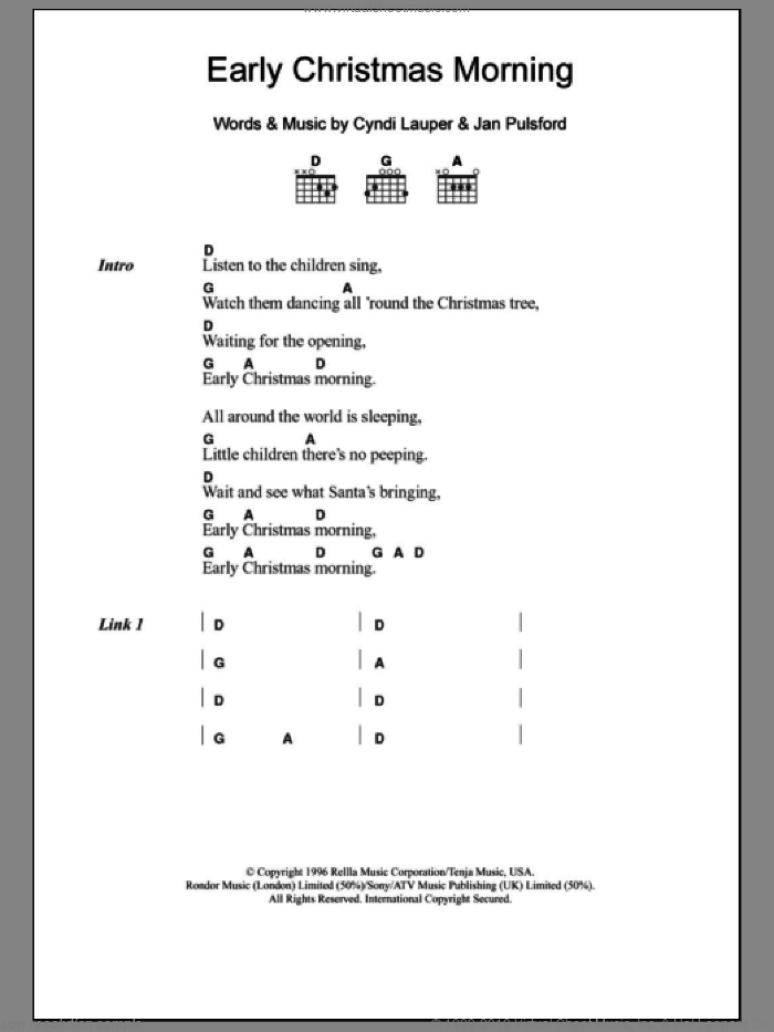 Early Christmas Morning sheet music for guitar (chords) by Jan Pulsford and Cyndi Lauper. Score Image Preview.