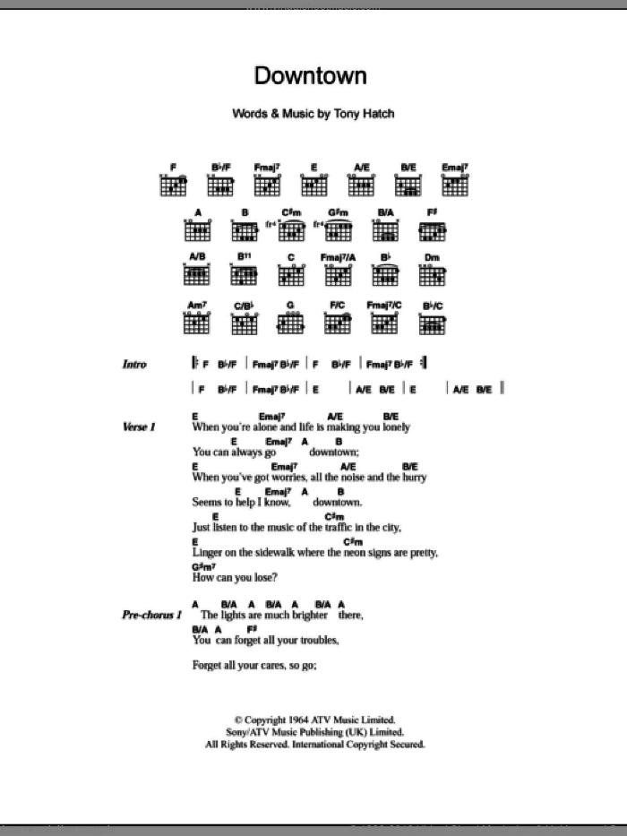 Downtown sheet music for guitar (chords) by Tony Hatch