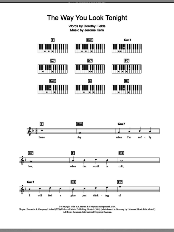 The Way You Look Tonight sheet music for piano solo (chords, lyrics, melody) by Dorothy Fields and Jerome Kern. Score Image Preview.