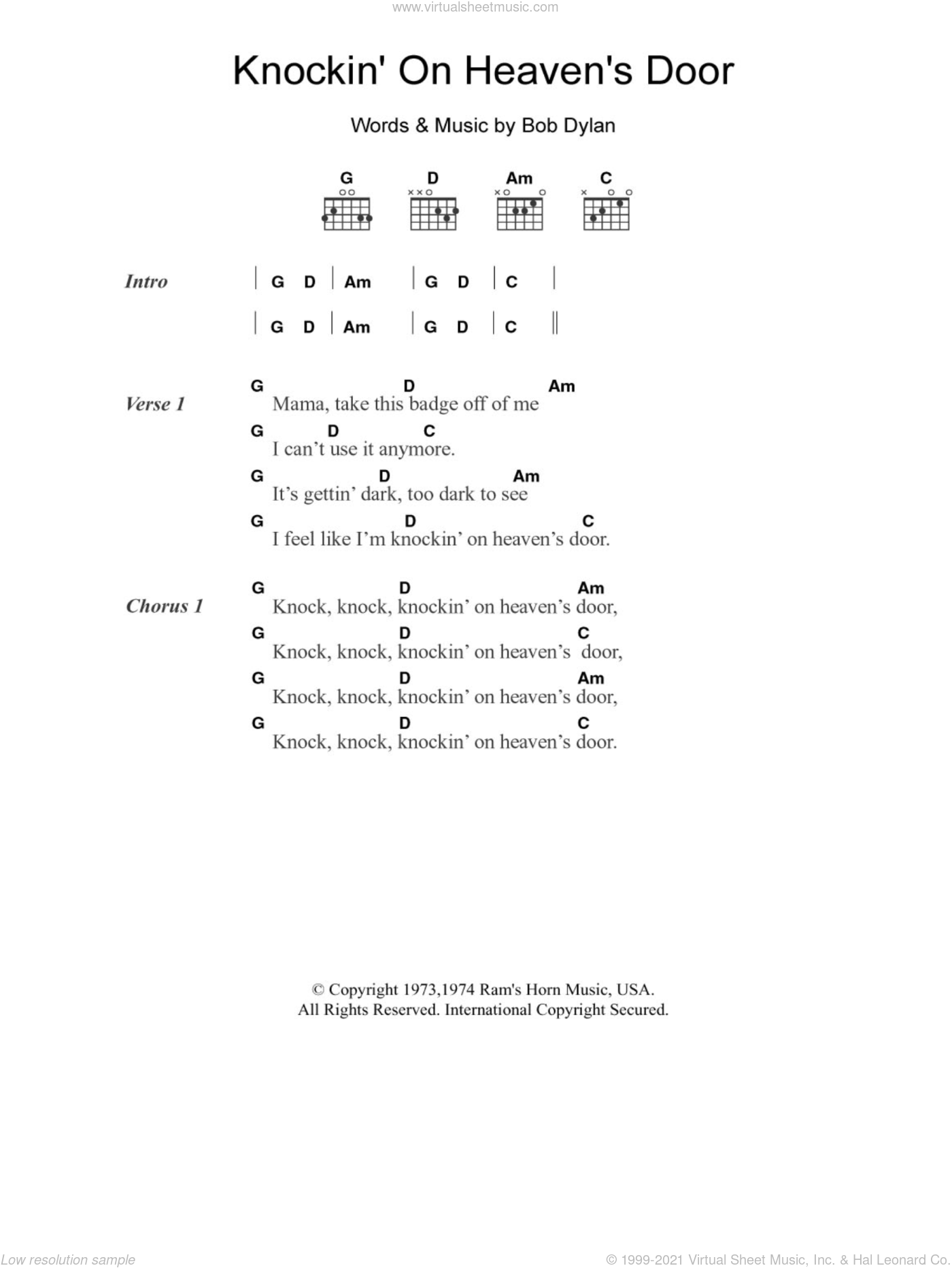 Dylan   Knockin' On Heaven's Door sheet music for guitar chords