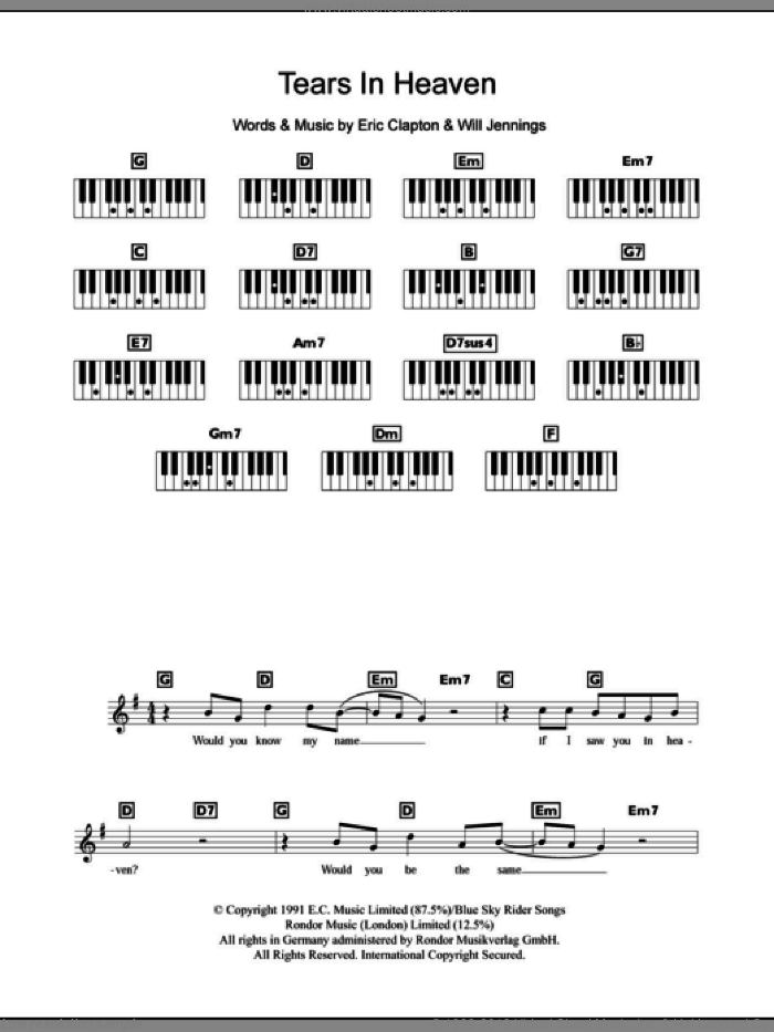 Tears In Heaven sheet music for piano solo (chords, lyrics, melody) by Will Jennings and Eric Clapton. Score Image Preview.