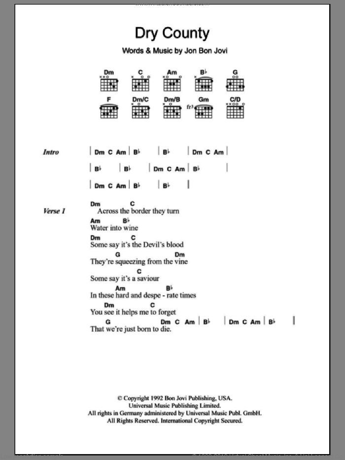Dry County sheet music for guitar (chords) by Bon Jovi, intermediate. Score Image Preview.