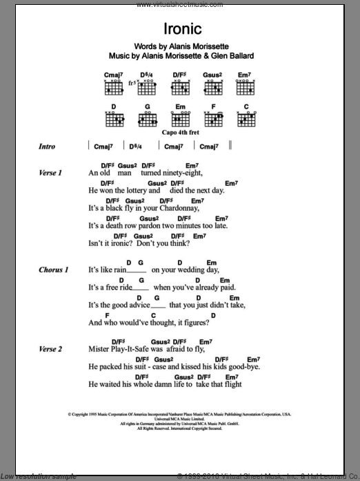 Ironic sheet music for guitar (chords) by Alanis Morissette and Glen Ballard. Score Image Preview.