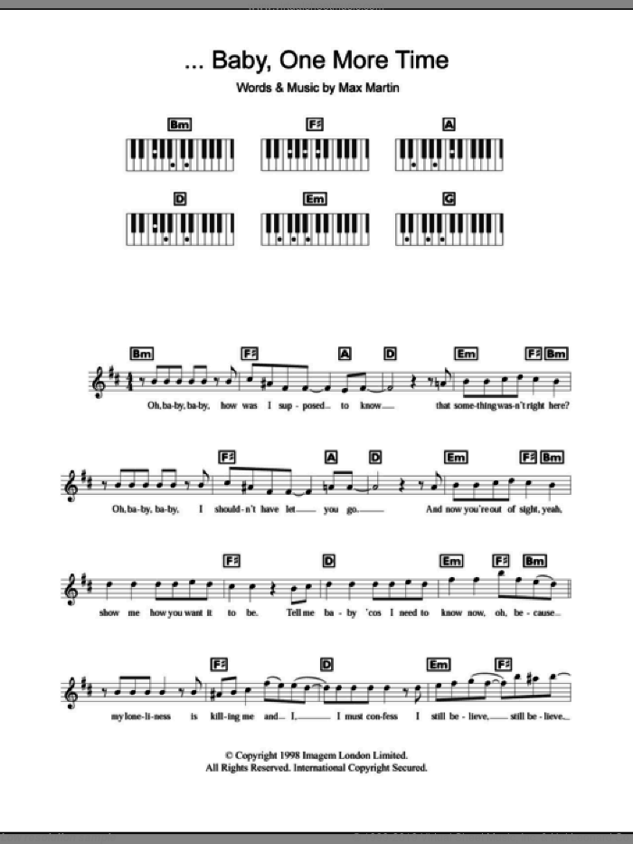 ...Baby One More Time sheet music for piano solo (chords, lyrics, melody) by Britney Spears and Max Martin, intermediate piano (chords, lyrics, melody)