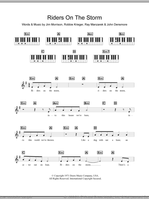 Riders On The Storm sheet music for piano solo (chords, lyrics, melody) by Robbie Krieger