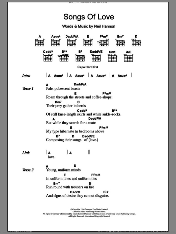 Songs Of Love sheet music for guitar (chords) by Neil Hannon and The Divine Comedy. Score Image Preview.