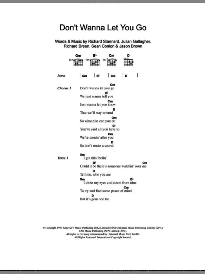 Don't Wanna Let You Go sheet music for guitar (chords) by Sean Conlon, Ben Folds Five, Julian Gallagher, Richard Breen and Richard Stannard. Score Image Preview.