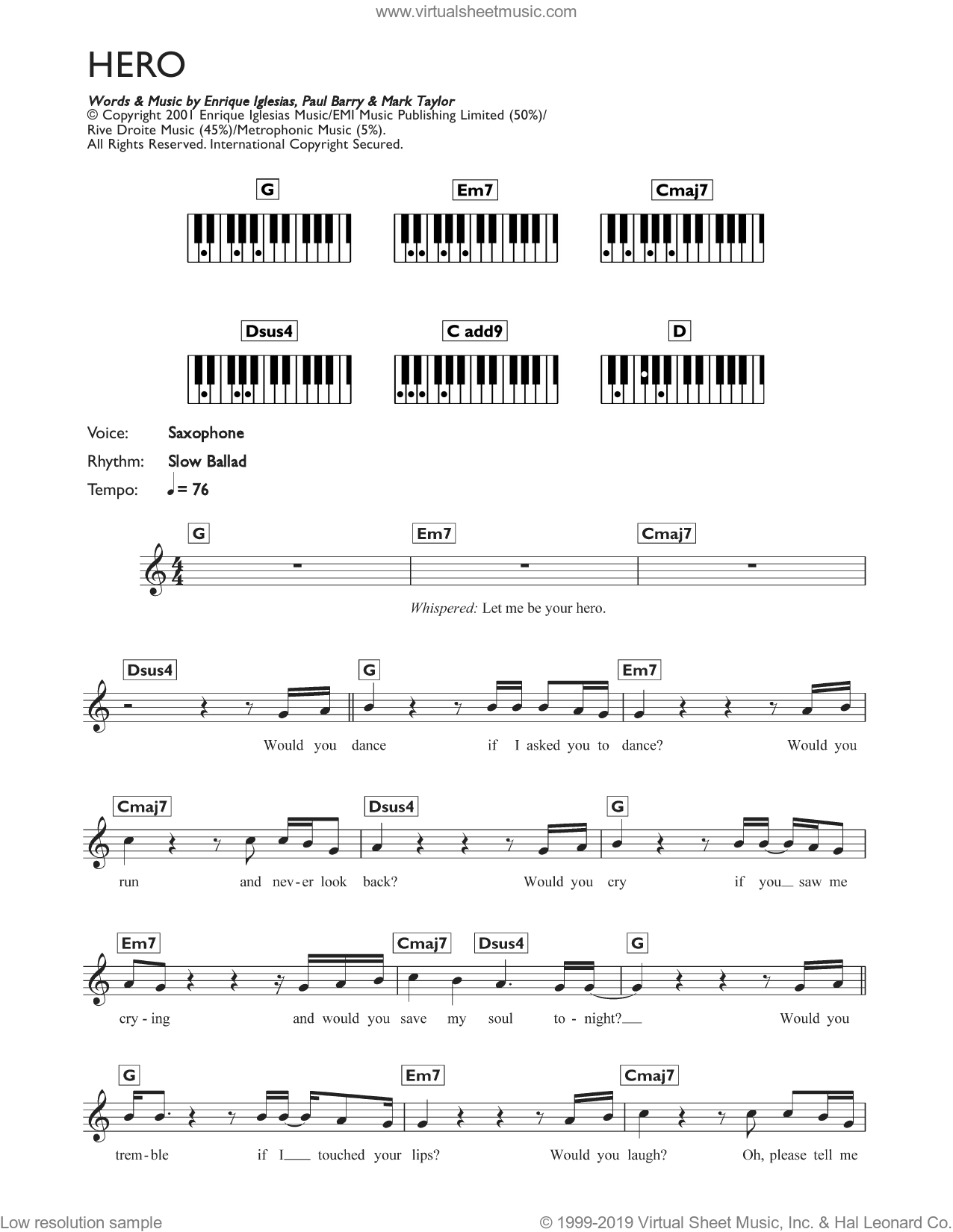 Hero sheet music for piano solo (chords, lyrics, melody) by Paul Barry, Enrique Iglesias and Mark Taylor