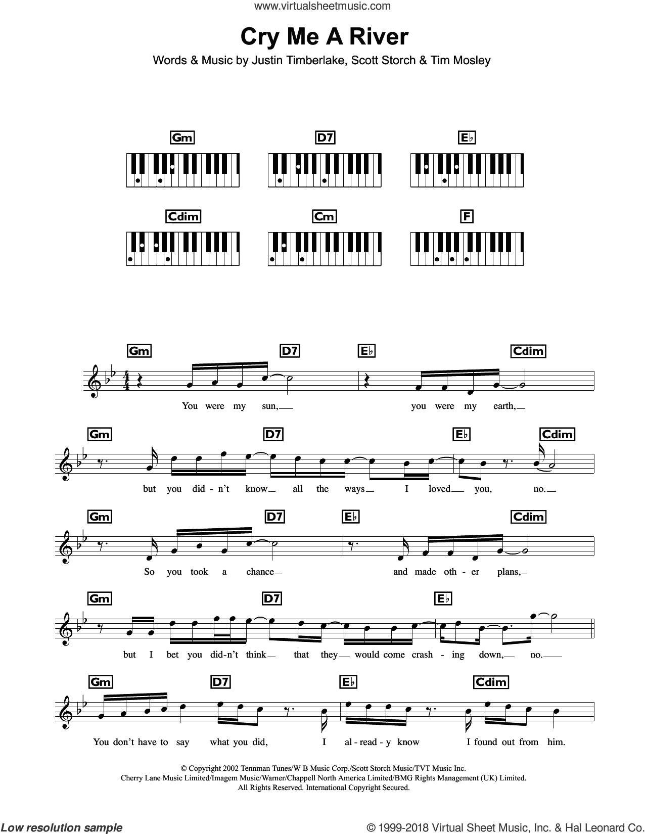 Cry Me A River sheet music for piano solo (chords, lyrics, melody) by Tim Mosley, Justin Timberlake and Scott Storch. Score Image Preview.