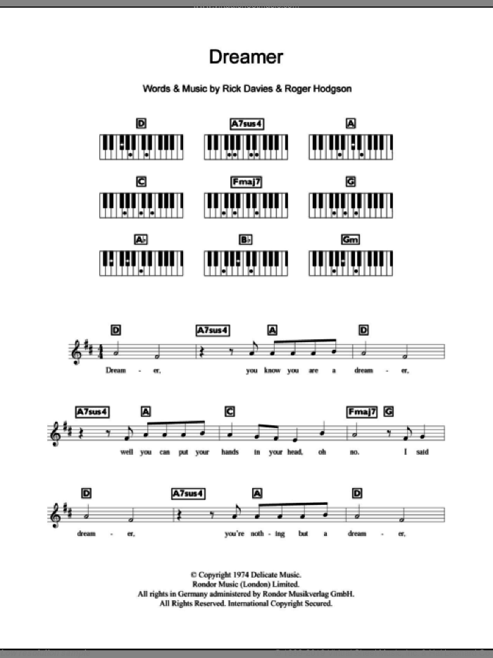 Dreamer sheet music for piano solo (chords, lyrics, melody) by Supertramp, intermediate piano (chords, lyrics, melody). Score Image Preview.
