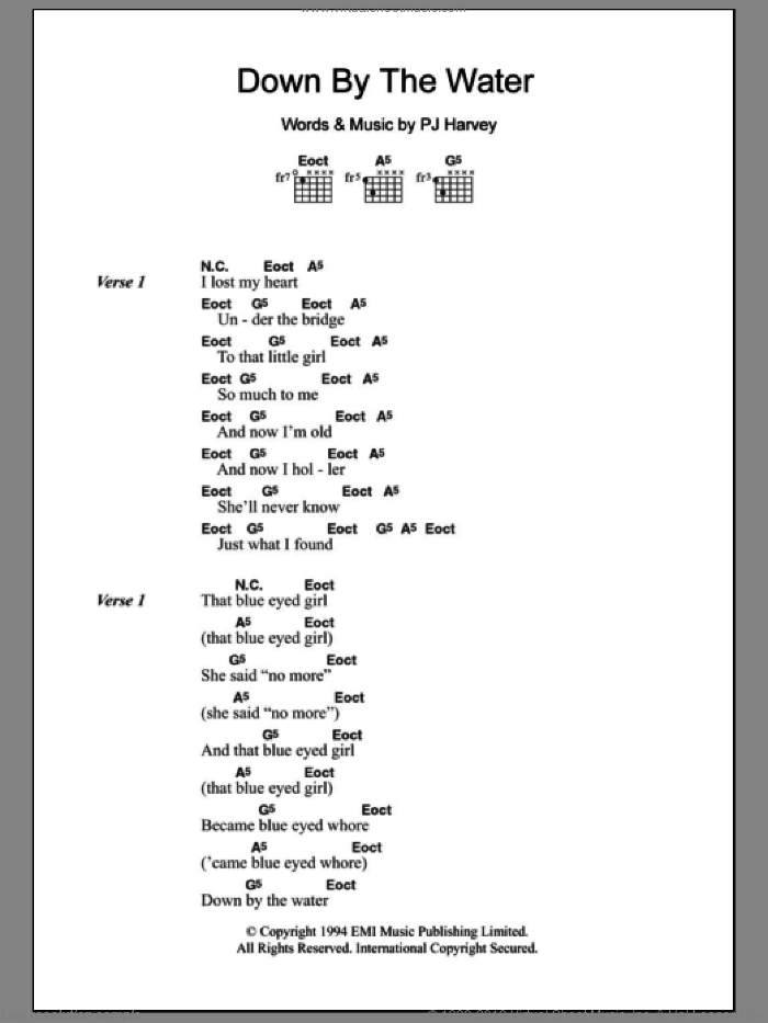 Down By The Water sheet music for guitar (chords) by Polly Jean Harvey, intermediate. Score Image Preview.