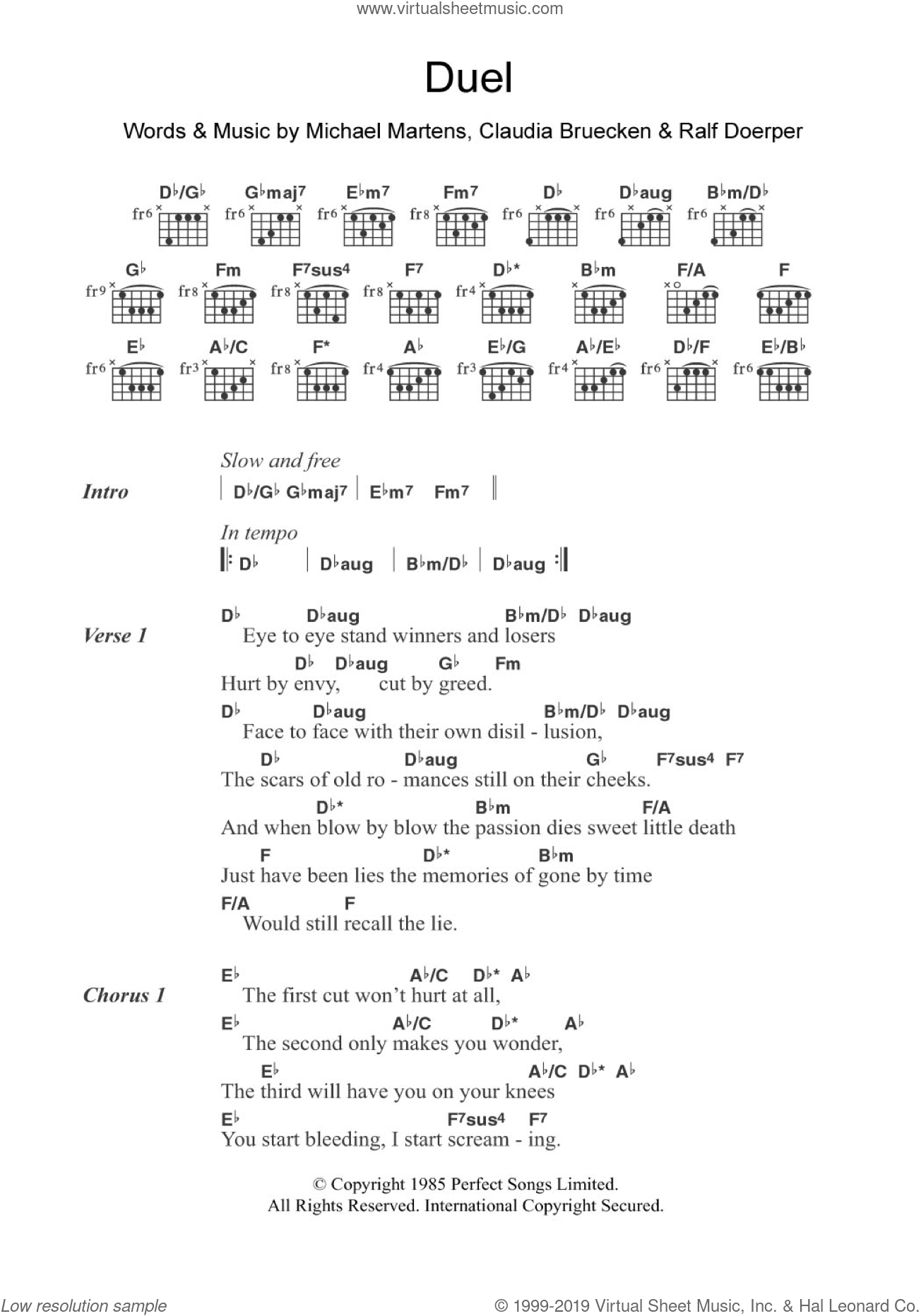 Duel sheet music for guitar (chords) by Propaganda, Claudia Bruecken, Michael Martens and Ralf Doerper, intermediate. Score Image Preview.