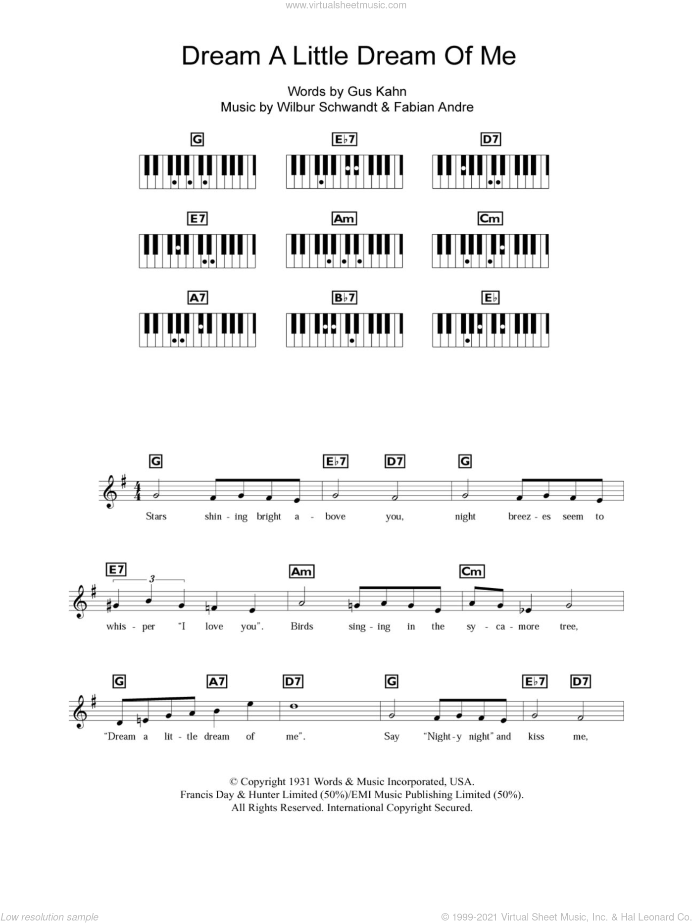 Dream A Little Dream Of Me sheet music for piano solo (chords, lyrics, melody) by The Mamas & The Papas, Fabian Andre, Gus Kahn and Wilbur Schwandt, intermediate piano (chords, lyrics, melody)