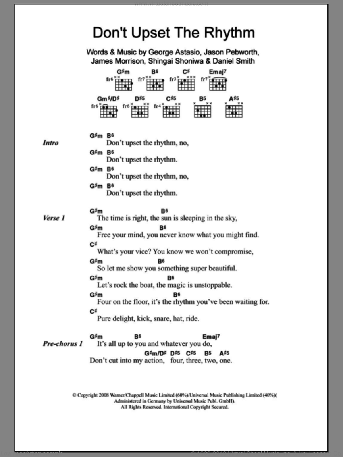 Don't Upset The Rhythm sheet music for guitar (chords, lyrics, melody) by Shingai Shoniwa