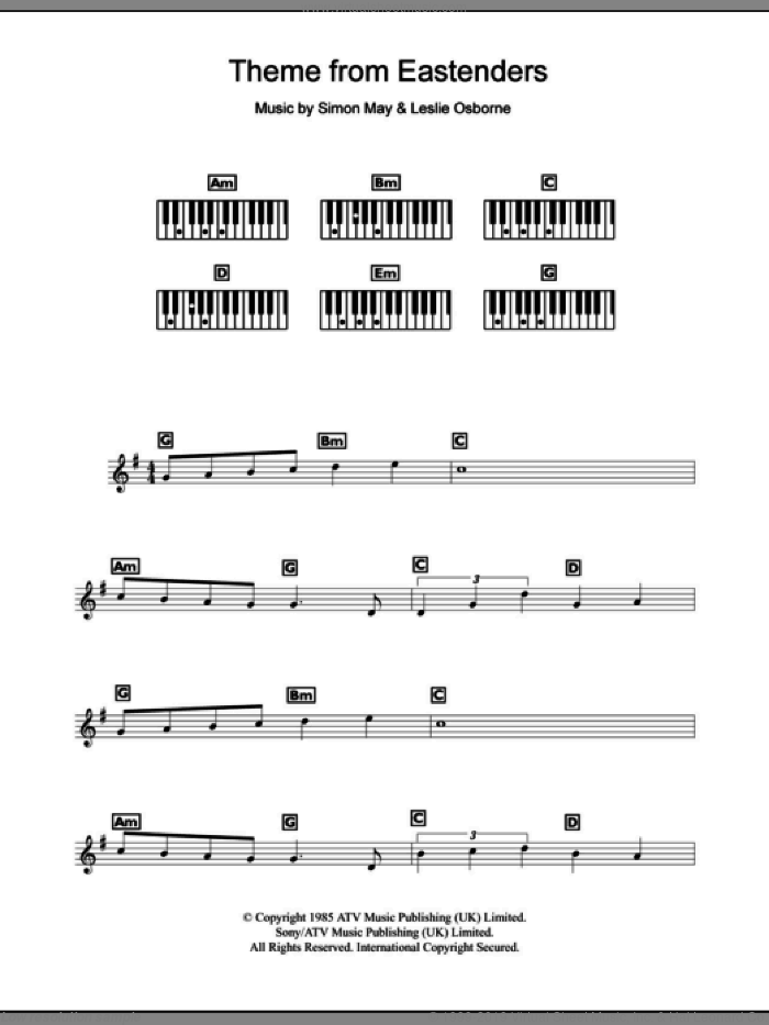 Theme From EastEnders sheet music for piano solo (chords, lyrics, melody) by Leslie Osborne and Simon May, intermediate piano (chords, lyrics, melody)