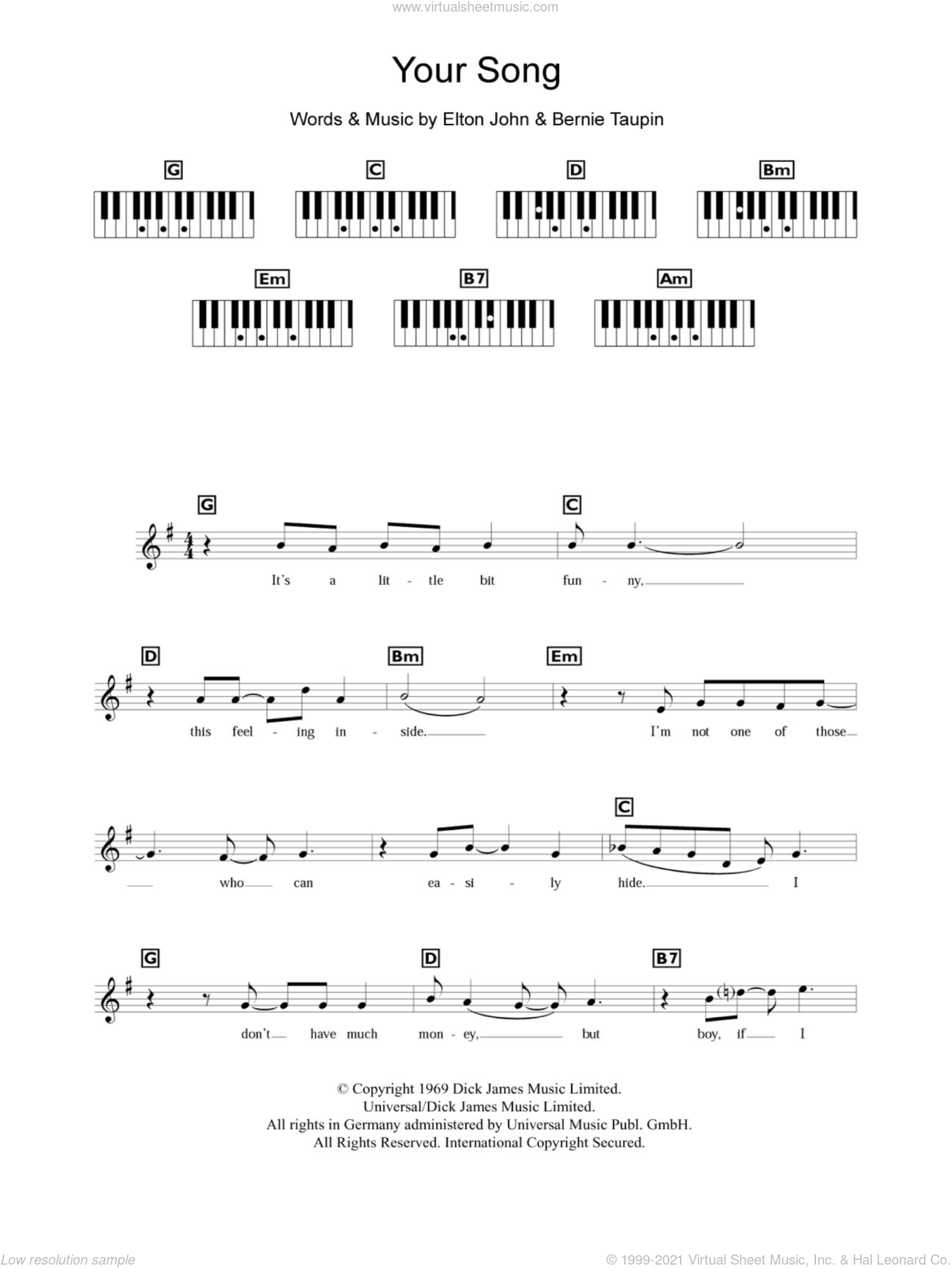 Your Song sheet music for piano solo (chords, lyrics, melody) by Bernie Taupin and Elton John. Score Image Preview.