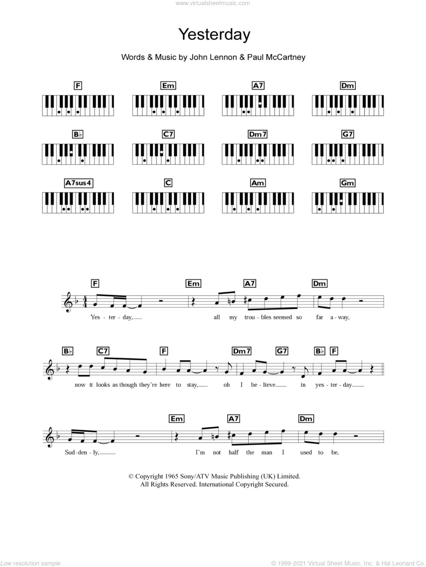 Yesterday sheet music for piano solo (chords, lyrics, melody) by Paul McCartney, The Beatles and John Lennon. Score Image Preview.