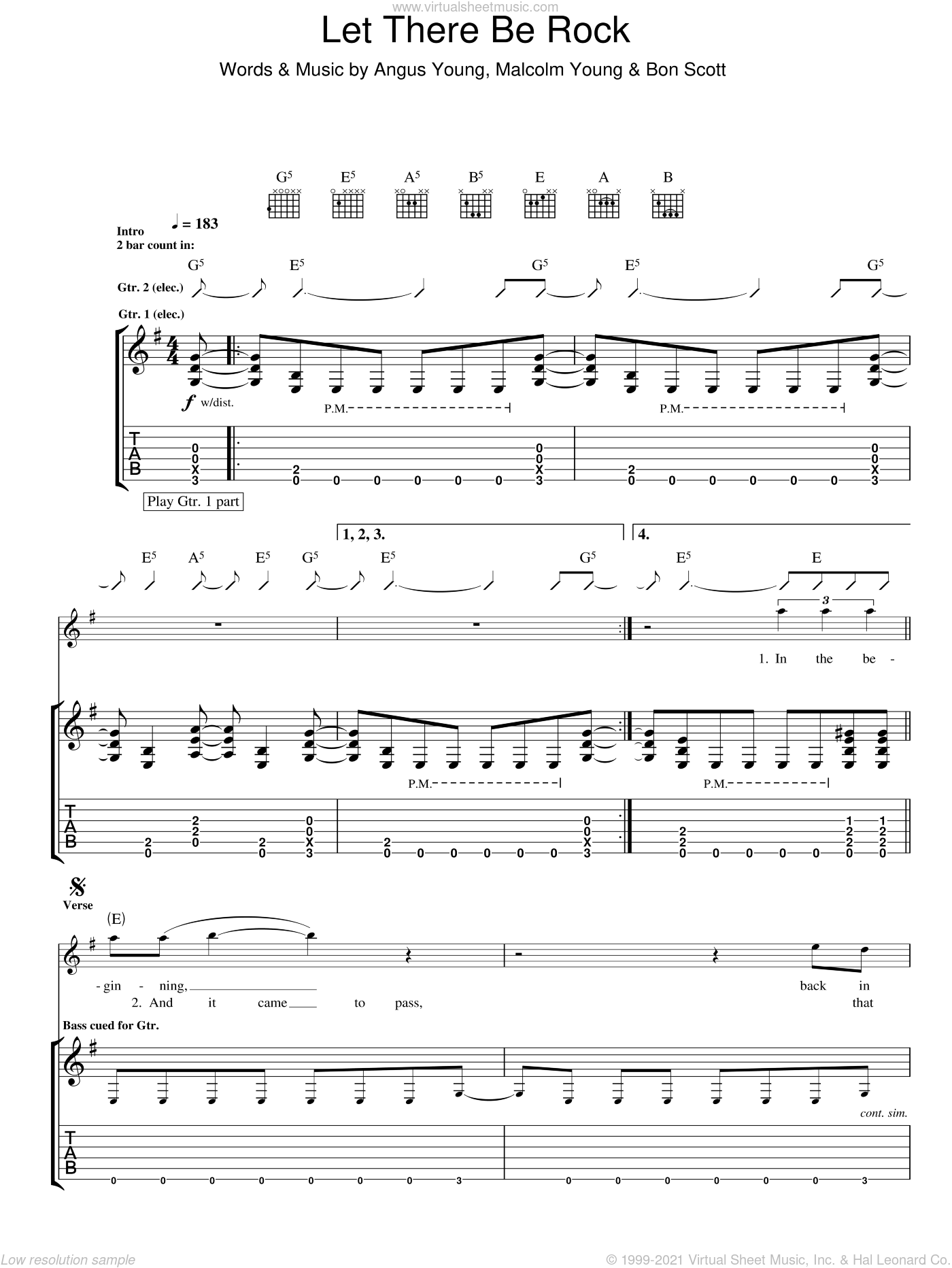 Let There Be Rock sheet music for guitar (tablature) by AC/DC. Score Image Preview.