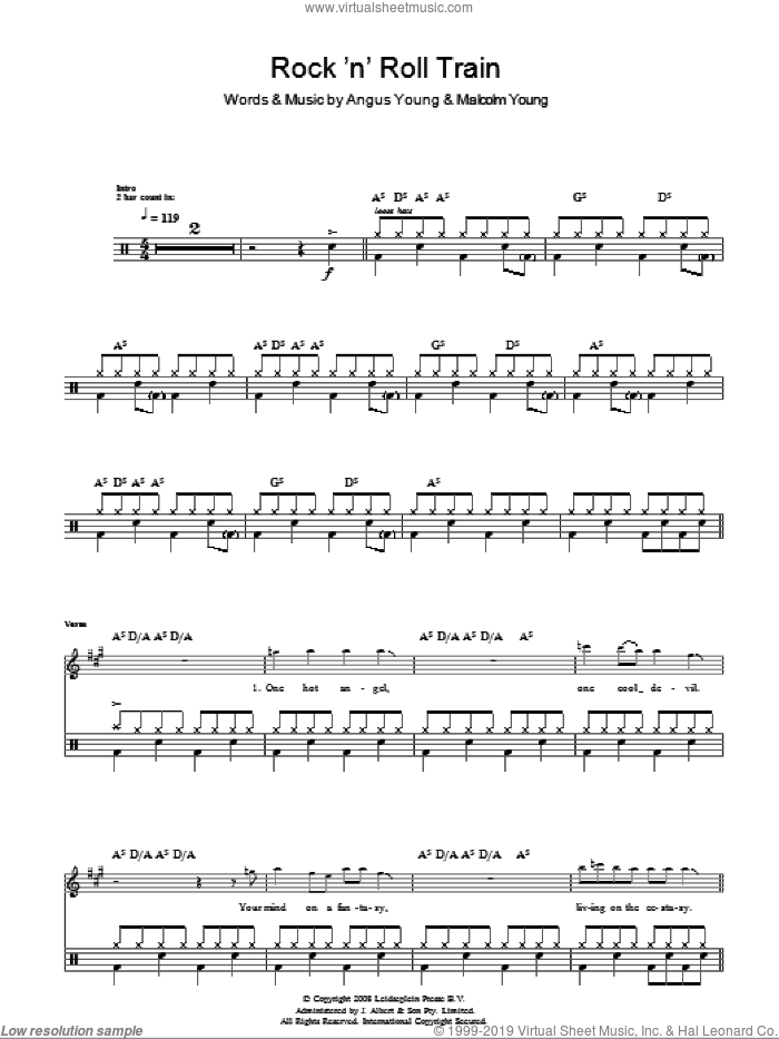 Rock 'N' Roll Train (Drums) sheet music for voice and other instruments (fake book) by AC/DC, Angus Young and Malcolm Young, intermediate skill level