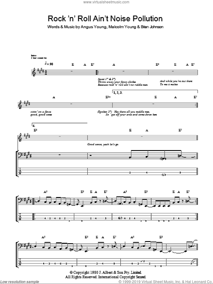 Rock And Roll Ain't Noise Pollution sheet music for bass (tablature) (bass guitar) by AC/DC, Angus Young, Brian Johnson and Malcolm Young, intermediate. Score Image Preview.