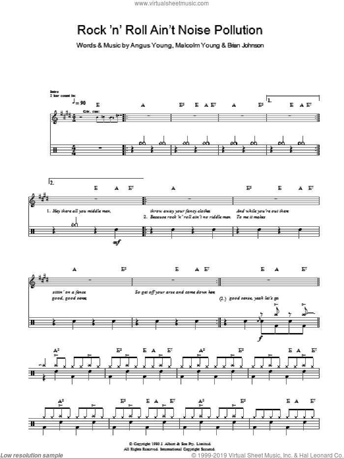 Rock And Roll Ain't Noise Pollution (Drums) sheet music for voice and other instruments (fake book) by AC/DC, Angus Young, Brian Johnson and Malcolm Young, intermediate skill level