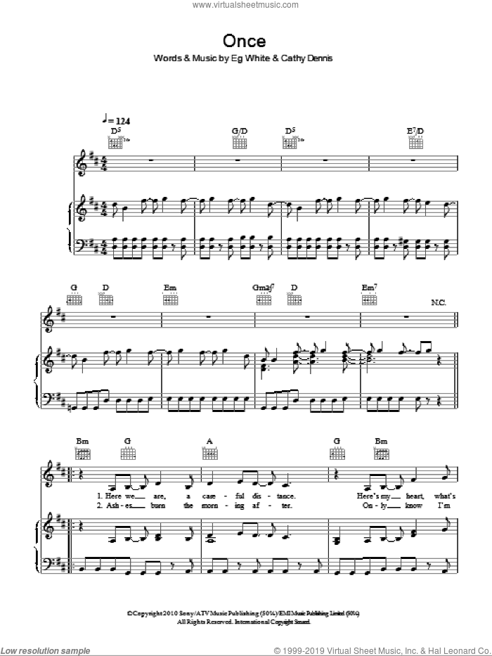 Once sheet music for voice, piano or guitar by Eg White and Cathy Dennis. Score Image Preview.