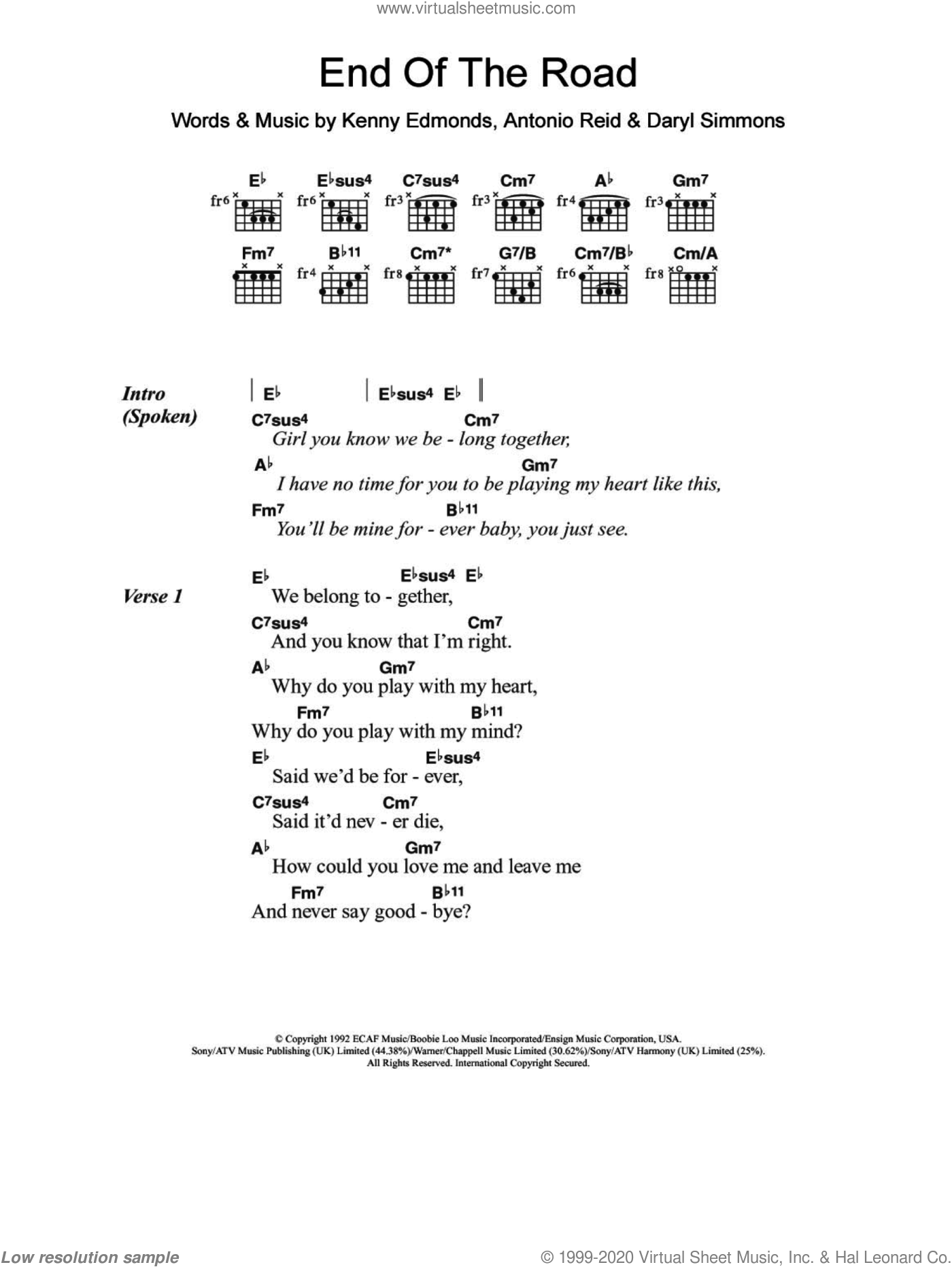 End Of The Road sheet music for guitar (chords) by Kenneth Edmonds, Boyz II Men, Antonio Reid and Daryl Simmons. Score Image Preview.