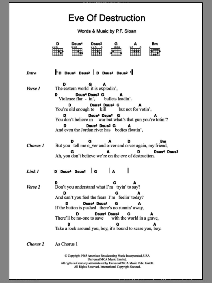Eve Of Destruction sheet music for guitar (chords) by P.F. Sloan and Barry McGuire
