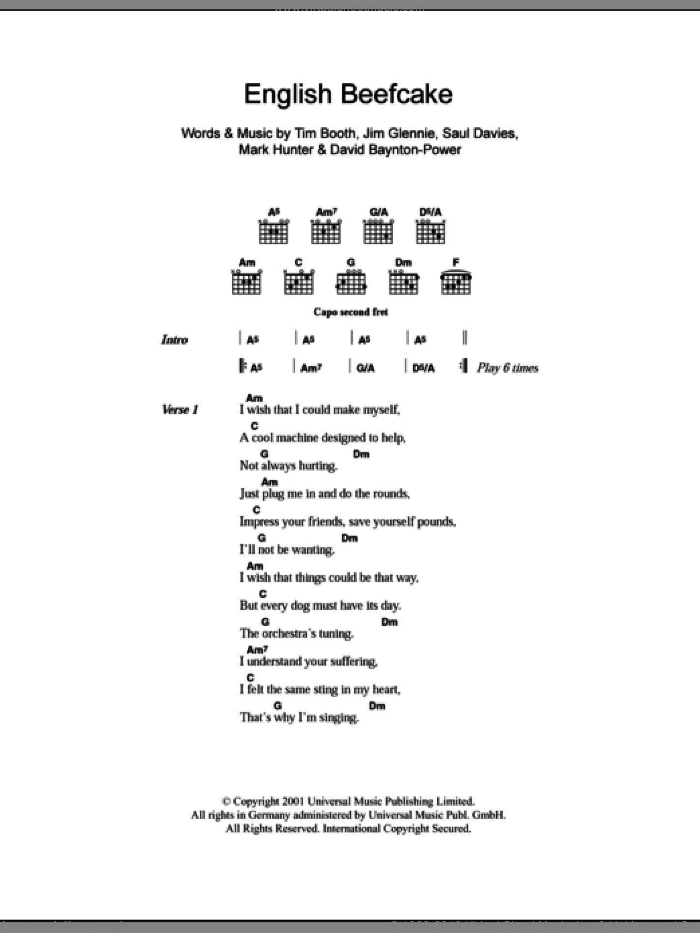 English Beefcake sheet music for guitar (chords) by Alex James, intermediate. Score Image Preview.