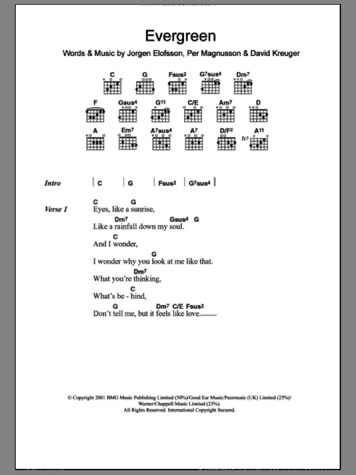 Evergreen sheet music for guitar (chords) by Will Young, Westlife, David Kreuger, JA�Aorgen Elofsson, Jorgen Elofsson and Per Magnusson, intermediate
