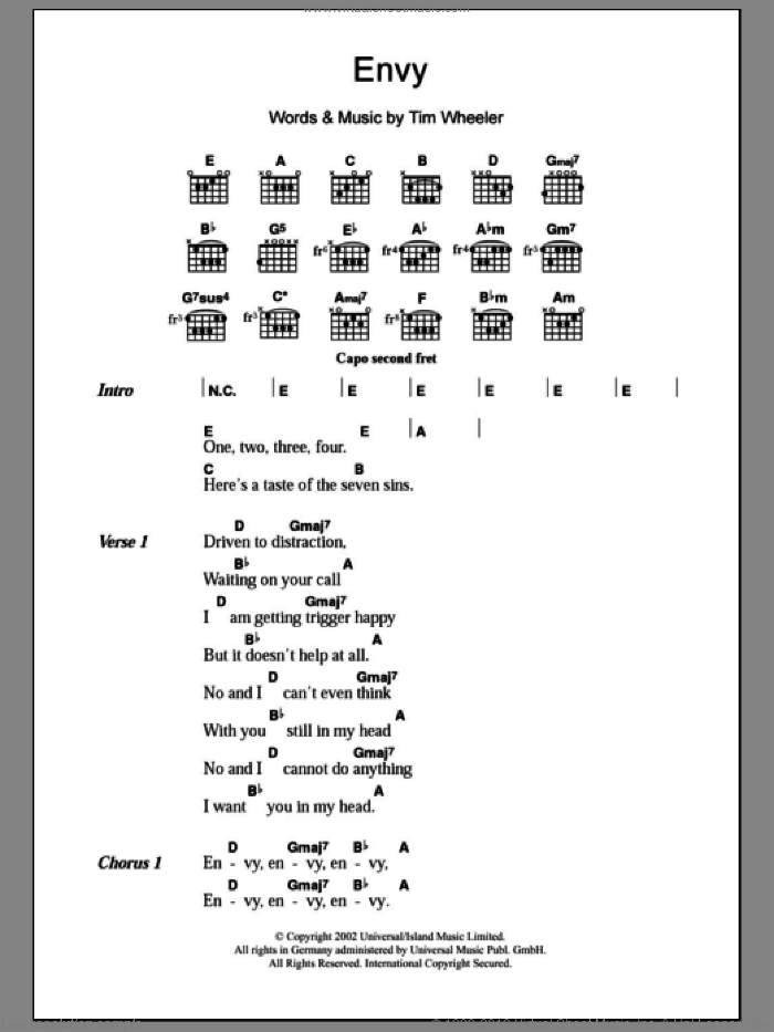 Envy sheet music for guitar (chords) by Tim Wheeler. Score Image Preview.