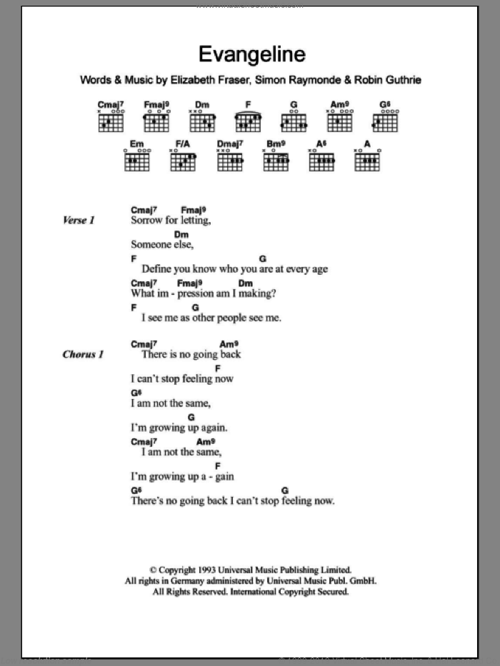 Evangeline sheet music for guitar (chords) by Simon Raymonde and Elizabeth Fraser. Score Image Preview.