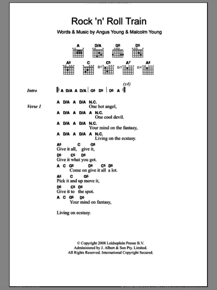 Rock 'N' Roll Train sheet music for guitar (chords) by AC/DC, intermediate