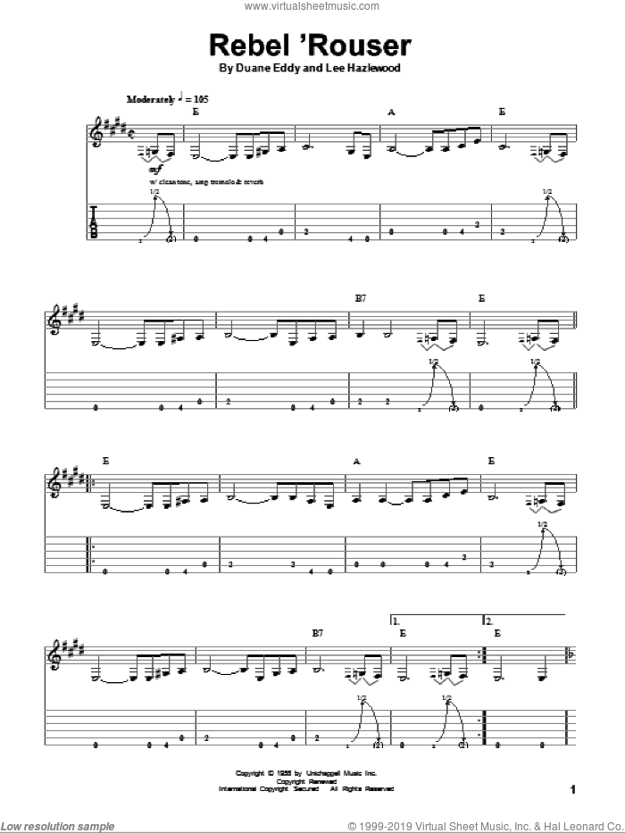 Rebel 'Rouser sheet music for guitar (tablature, play-along) by Lee Hazlewood and Duane Eddy. Score Image Preview.