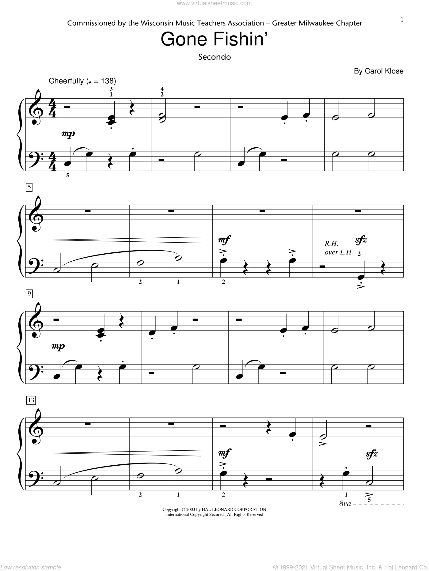 Gone Fishin' (Piano Duet) sheet music for piano solo (elementary) by Carol Klose and Miscellaneous. Score Image Preview.
