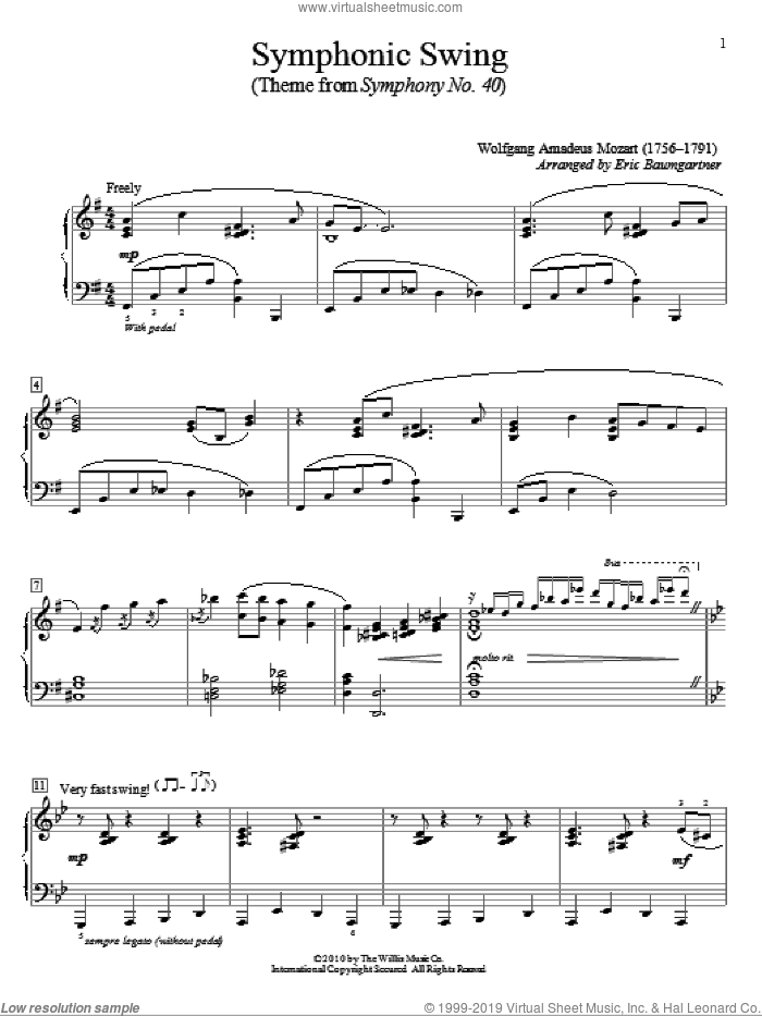 Symphonic Swing (Theme From Symphony No. 40) sheet music for piano solo (elementary) by Wolfgang Amadeus Mozart and Eric Baumgartner, classical score, beginner piano (elementary)