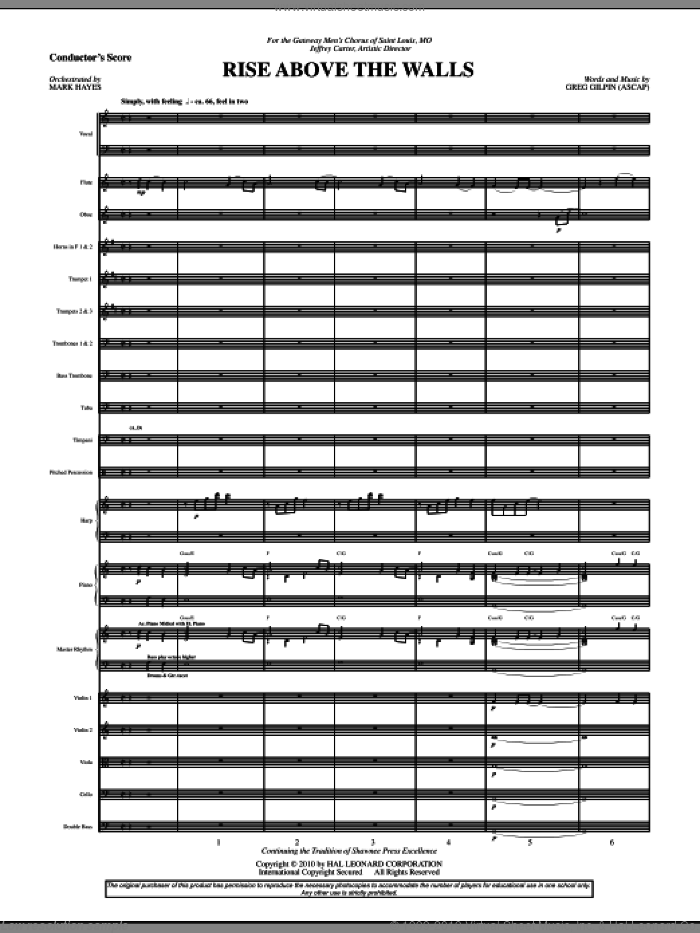 Rise Above The Walls sheet music for orchestra/band (full score) by Mark Hayes