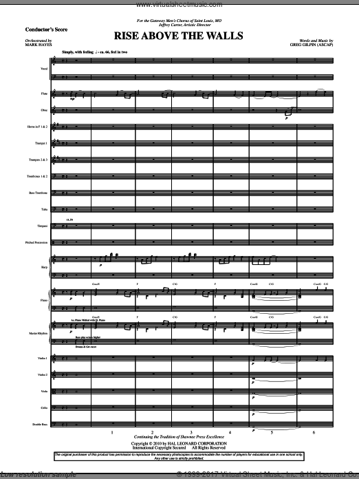 Rise Above The Walls (COMPLETE) sheet music for orchestra by Mark Hayes