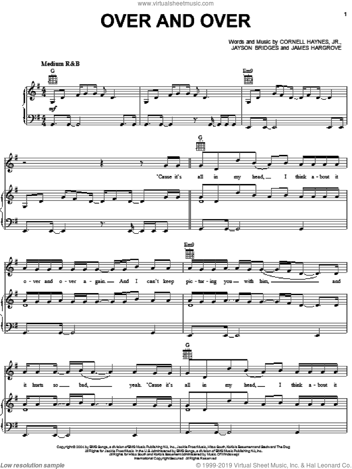 Over And Over sheet music for voice, piano or guitar by Nelly featuring Tim McGraw, Nelly and Tim McGraw. Score Image Preview.