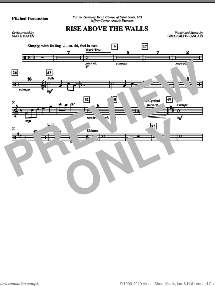 Rise Above The Walls sheet music for orchestra/band (pitched percussion) by Mark Hayes