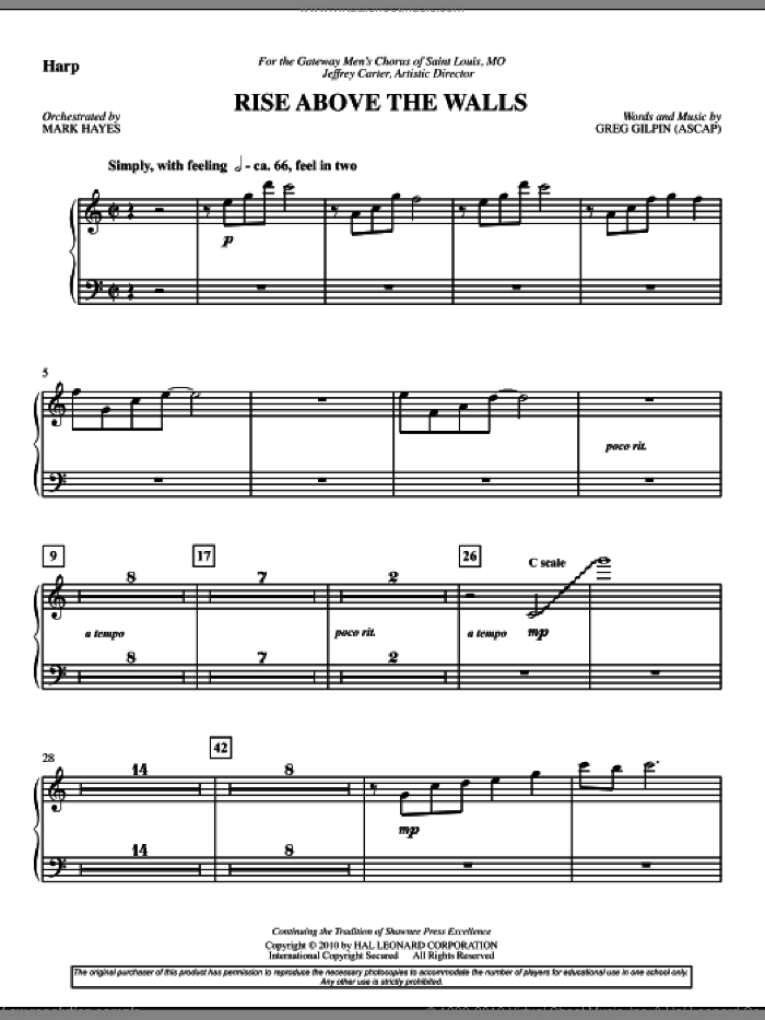 Rise Above The Walls sheet music for orchestra/band (harp) by Mark Hayes