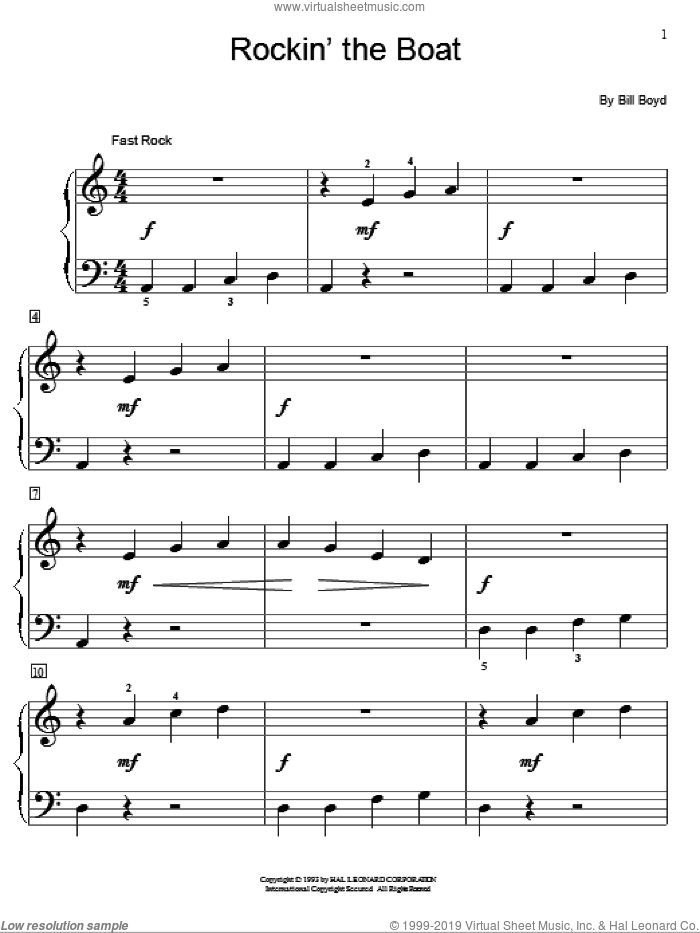 Rockin' The Boat sheet music for piano solo (elementary) by Bill Boyd and Miscellaneous. Score Image Preview.