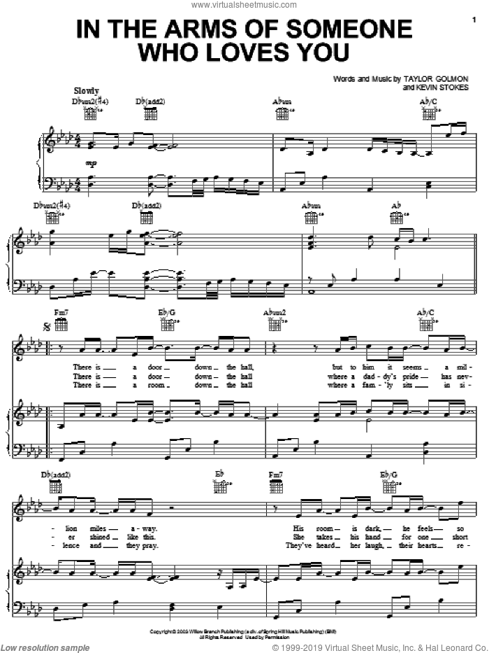 In The Arms Of Someone Who Loves You sheet music for voice, piano or guitar by Taylor Golmon and Kevin Stokes. Score Image Preview.