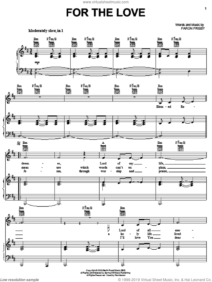 For The Love sheet music for voice, piano or guitar by Faron Frisby