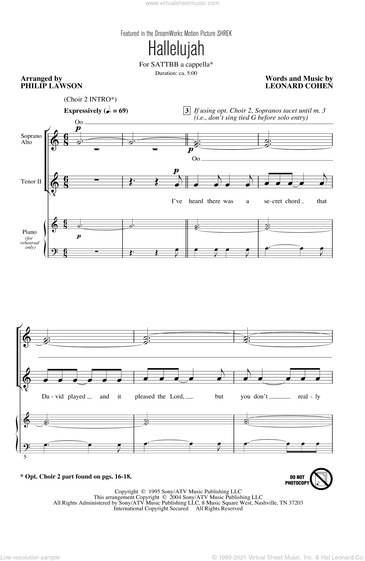 Hallelujah sheet music for choir (SATB) by Leonard Cohen and Philip Lawson. Score Image Preview.