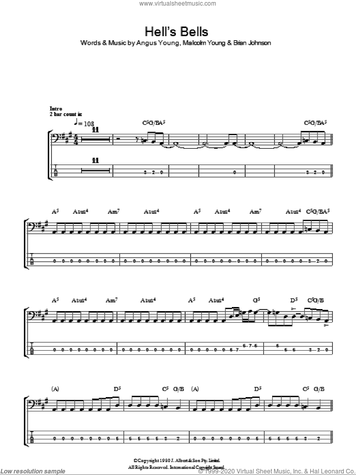 Hells Bells sheet music for bass (tablature) (bass guitar) by Malcolm Young, AC/DC and Angus Young. Score Image Preview.