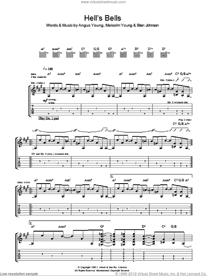 Hells Bells sheet music for guitar (tablature) by AC/DC and Brian Johnson. Score Image Preview.